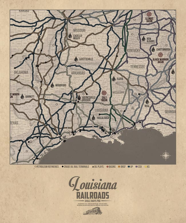 Louisiana Railroad Map Oil Plays Map Shale Maps Pro