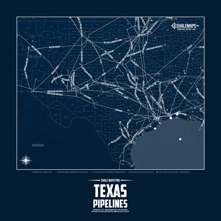 Texas Oil & Gas Pipelines Blue Print Map