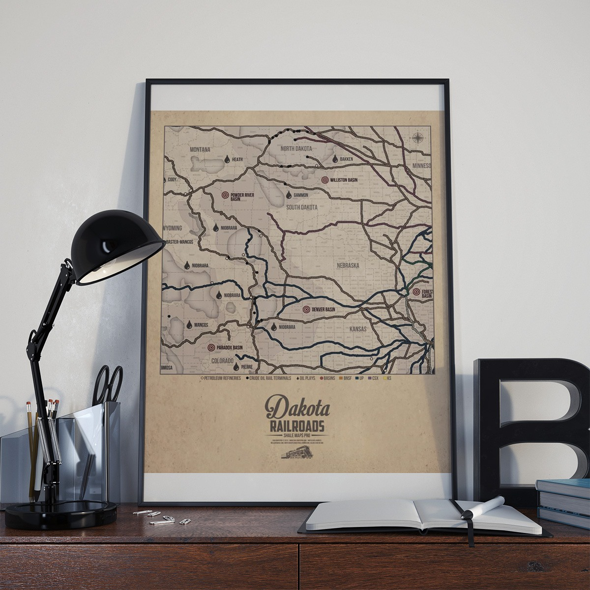 Dakota Railroad Map & Shale Oil Plays Map