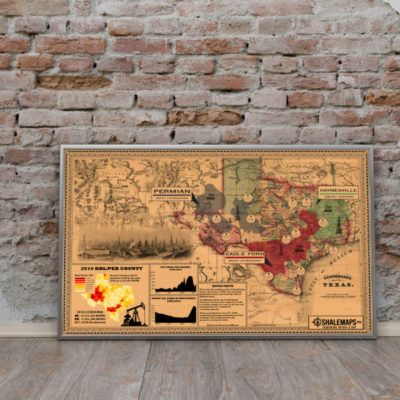 Vintage Texas Spindle Top Shale Oil Map